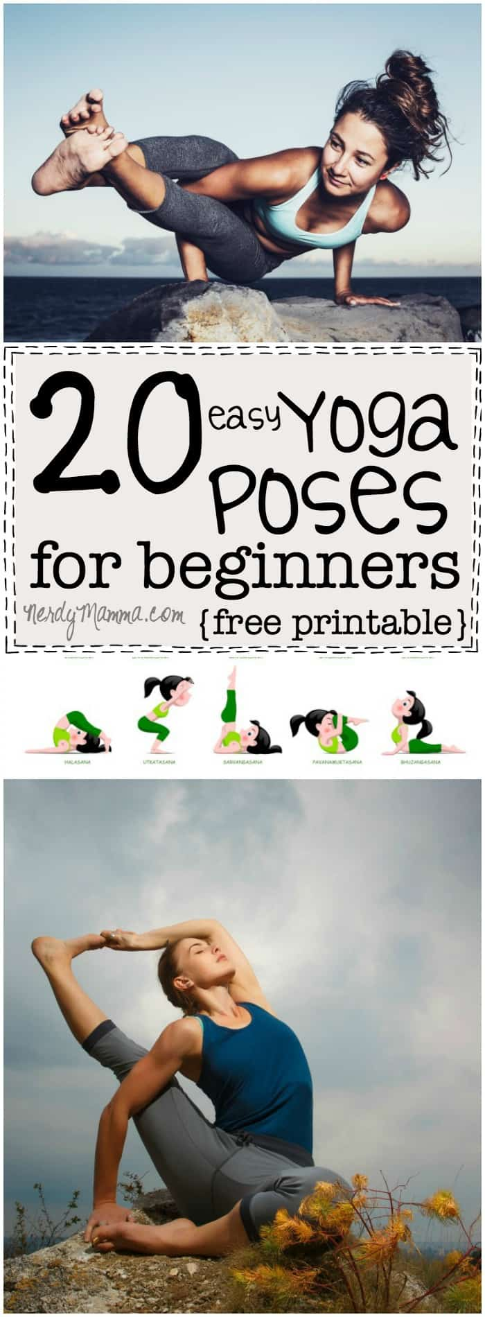 These 20 easy yoga poses are so simple. I didn't realize yoga could be done so--well, easily! LOL! I love it! And the free printable makes it so simple. I can't wait to get started.