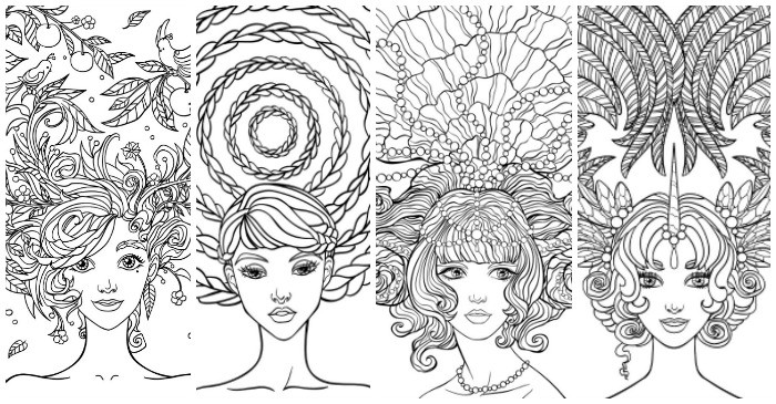 beautiful girl free printable coloring pages feature