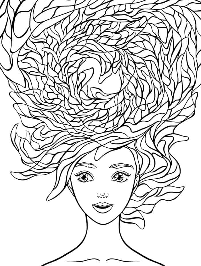 beautiful hair coloring pages for adults free download