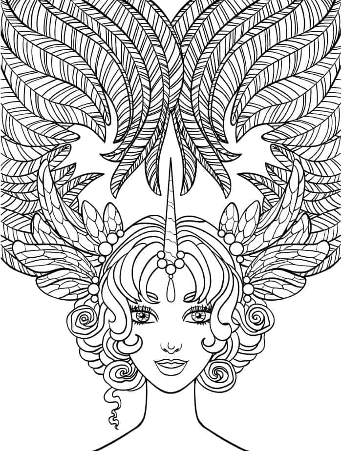 crazy hair lady coloring page for adults free download