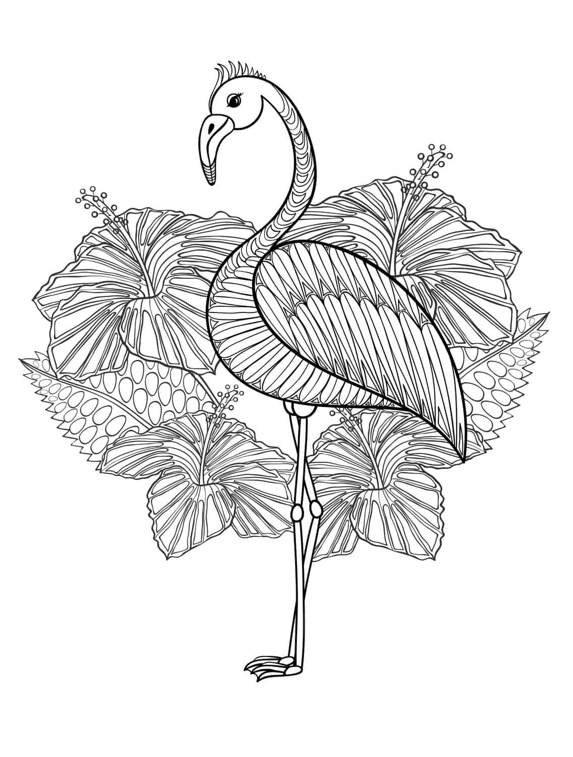 cute flamingo coloring page for adults to print at home - Flamingo Coloring Pages