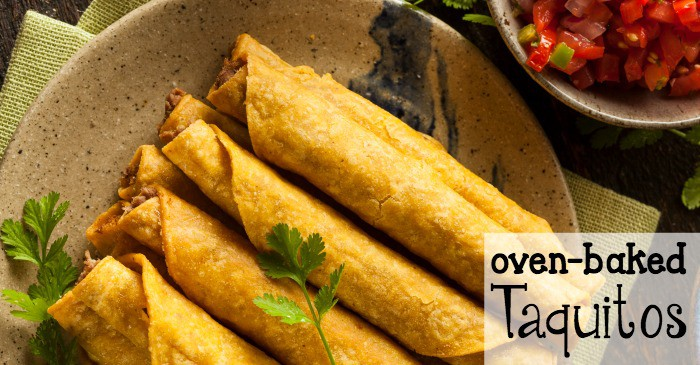easy chicken taquitos in the oven fb