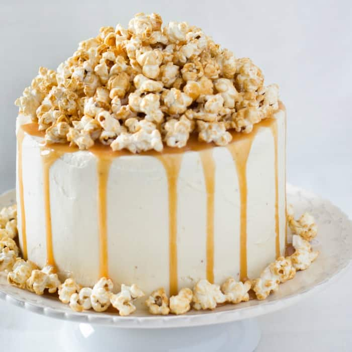 easy recipe for popcorn garnished cake with no dairy or eggs sq