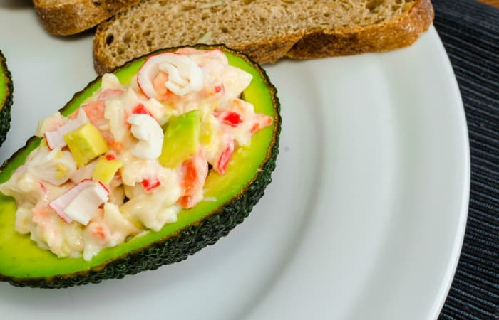 easy stuffed avocado recipe with crab meat feature