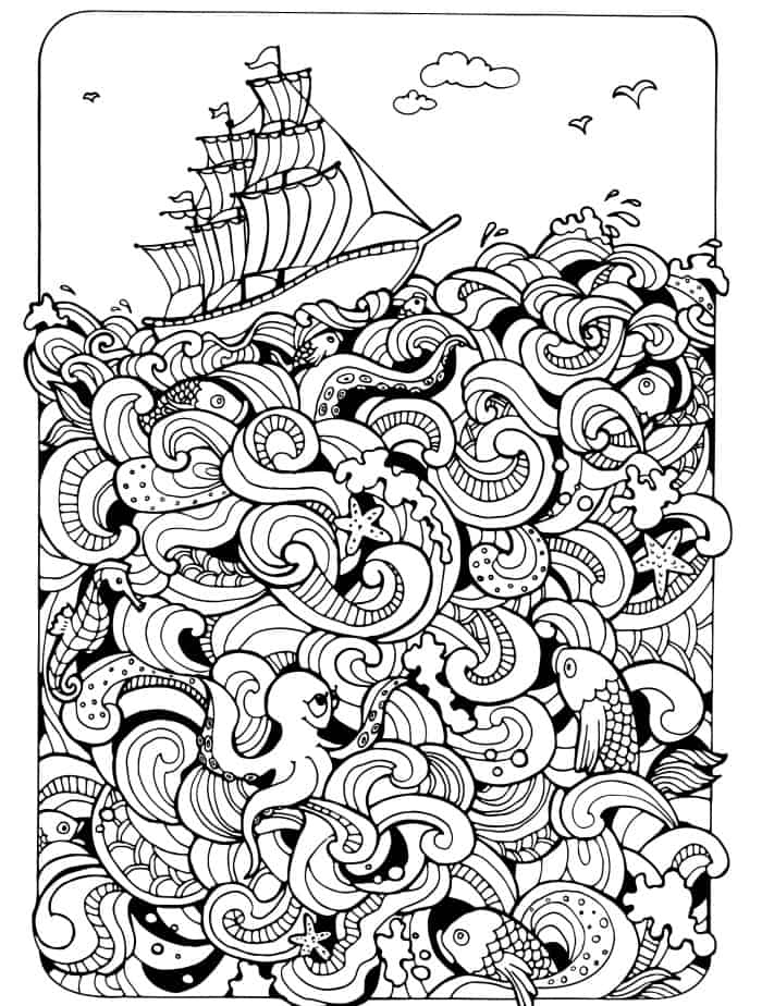 fishing adult coloring page for free