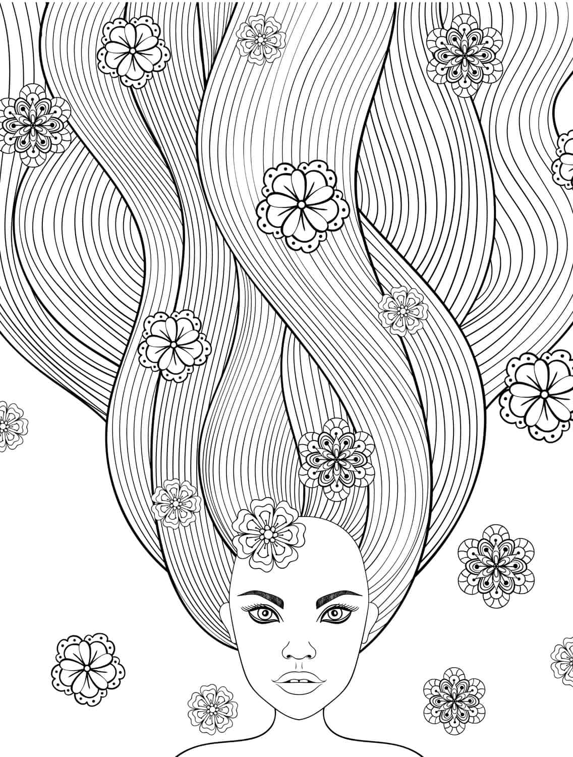 Free Printable Adult Coloring Pages With Long Hair Girls Print