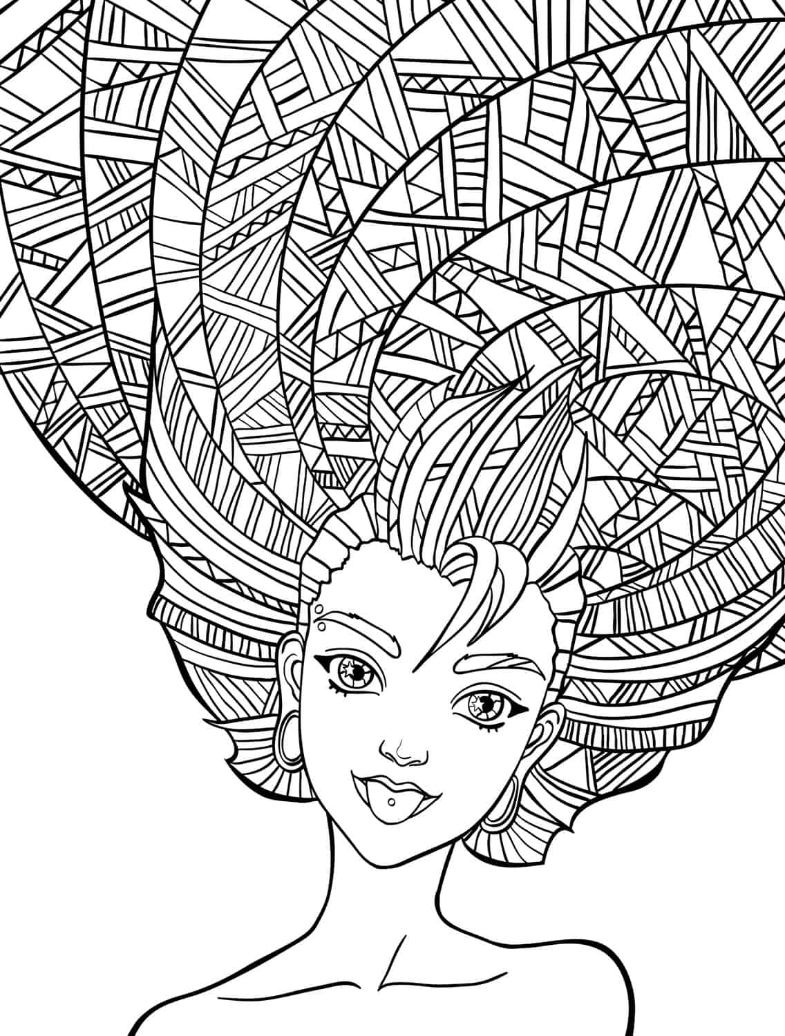 10 Crazy Hair Adult Coloring Pages - Page 9 of 12 - Nerdy Mamma