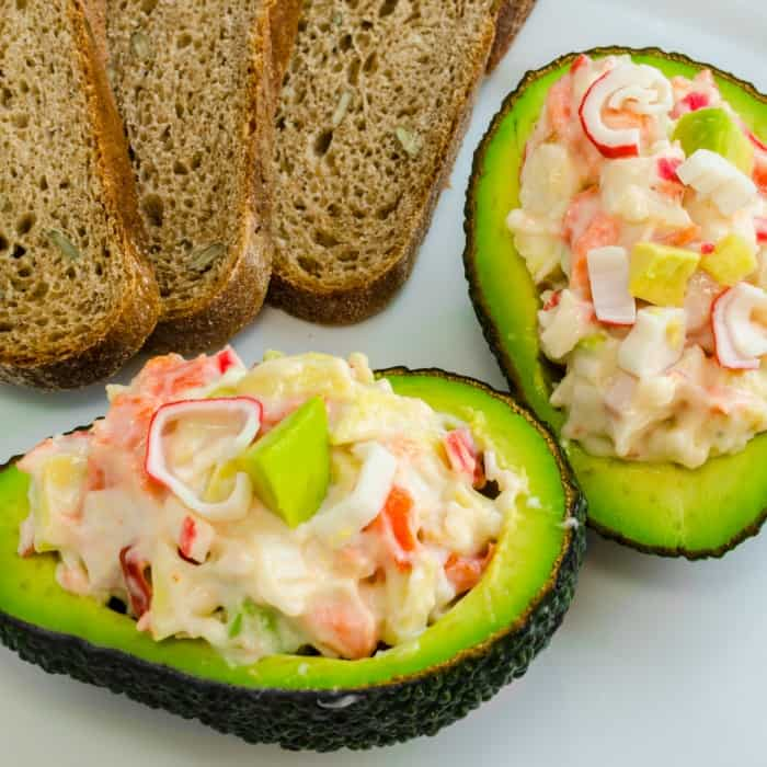 how to make crab salad without eggs for a fun avocado stuffed recipe sq