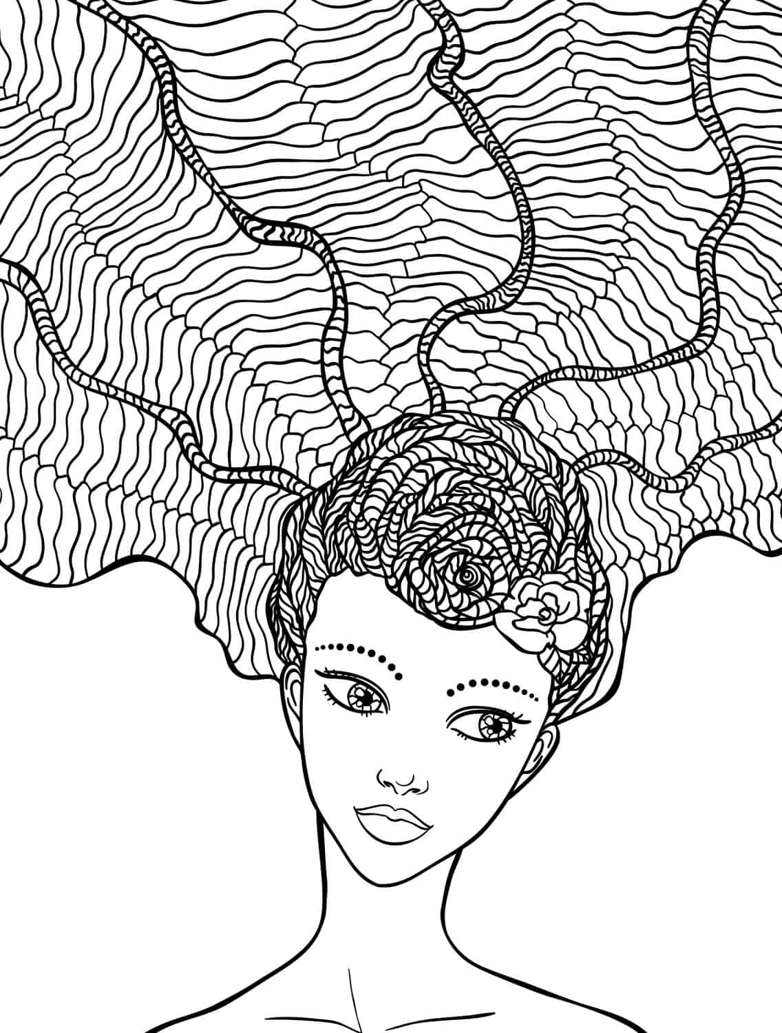 10 crazy hair adult coloring pages - page 3 of 12