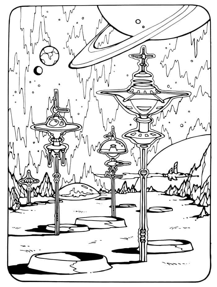 outer space free printable adult coloring page