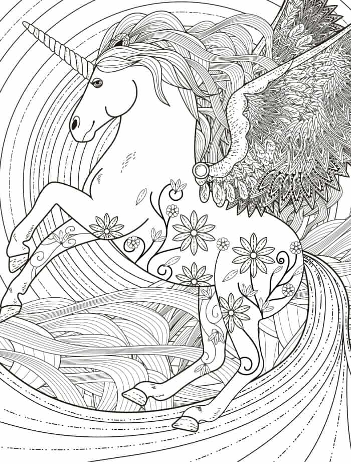 pegasus adult coloring page free download