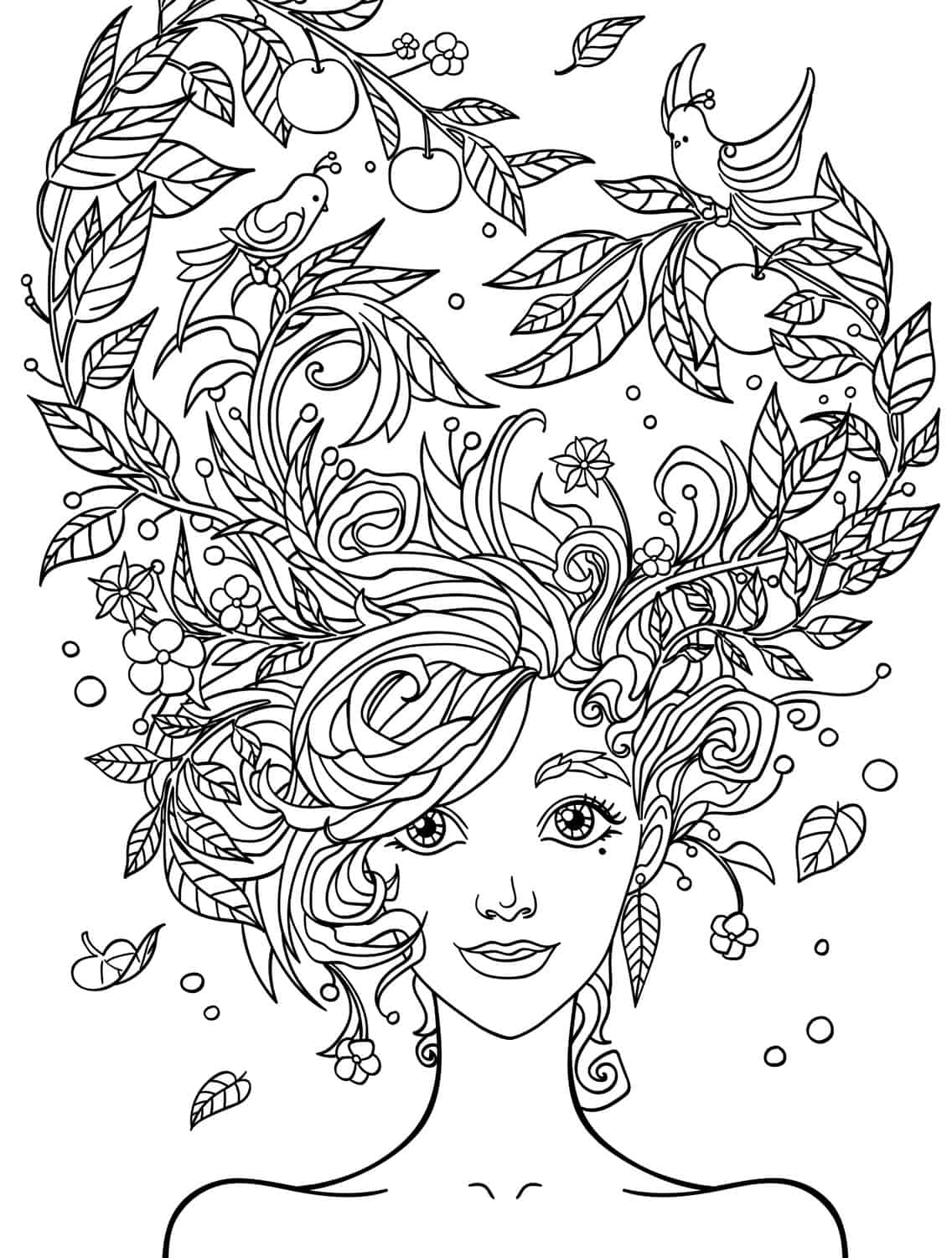 10 crazy hair adult coloring pages page 5 of 12 nerdy for Adult color page