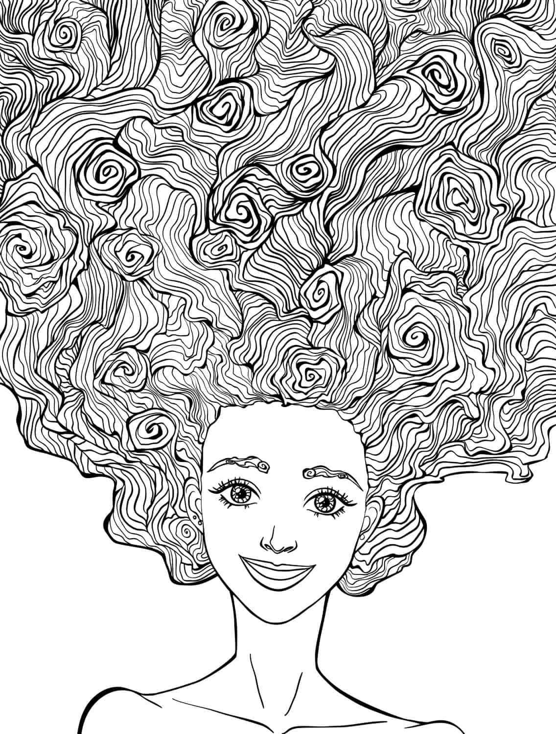 10 Crazy Hair Adult Coloring Pages - Page 10 of 12 - Nerdy Mamma
