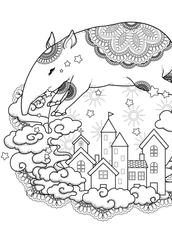 strange nightime scene free printable adult coloring page