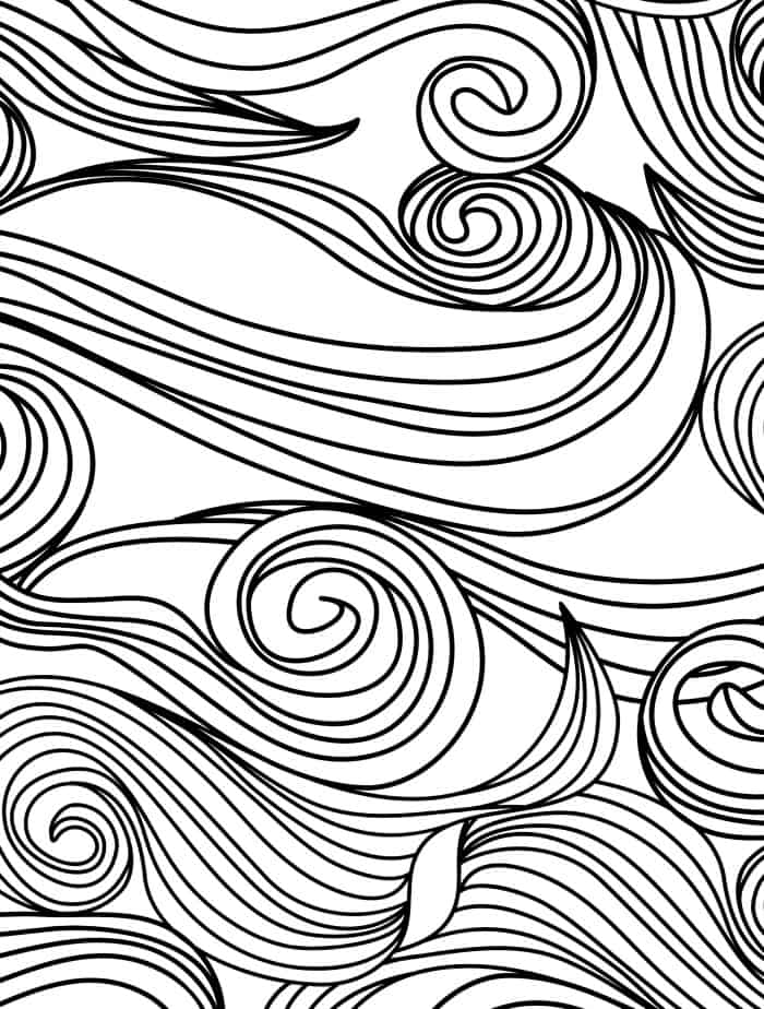 swirly coloring page for adults free printable