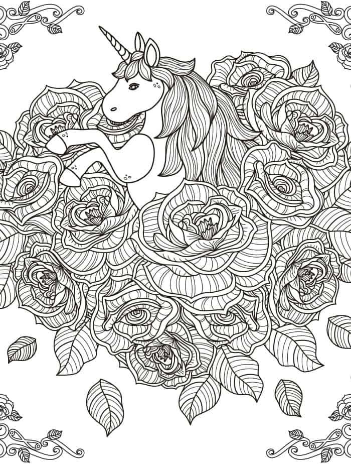 unicorn coloring page for adults printable