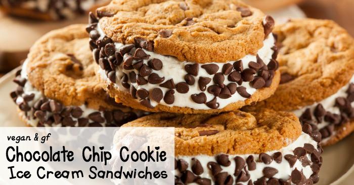 vegan and gluten-free chocolate chip cookie ice cream sandwiches recipe fb