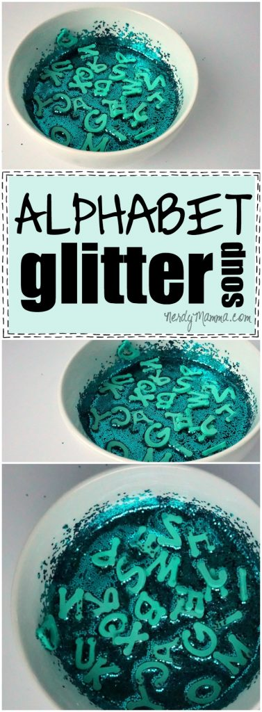 I absolutely love this alphabet glitter sensory soup. This is such an easy idea--and the kids LOVE it!