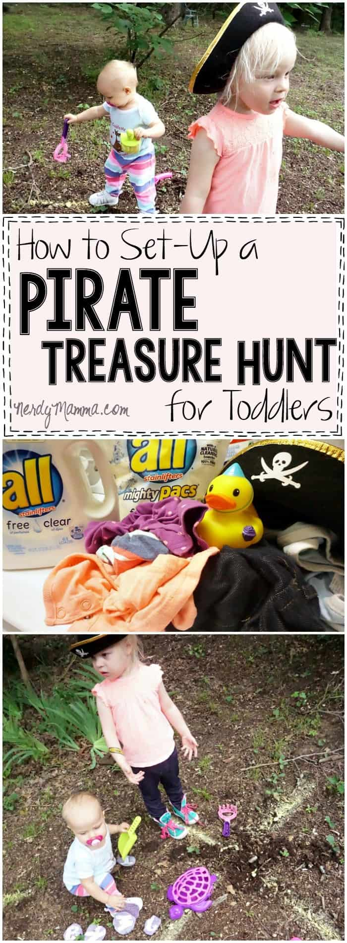 I love this easy pirate treasure hunt activity for toddlers! How simple--and cute!