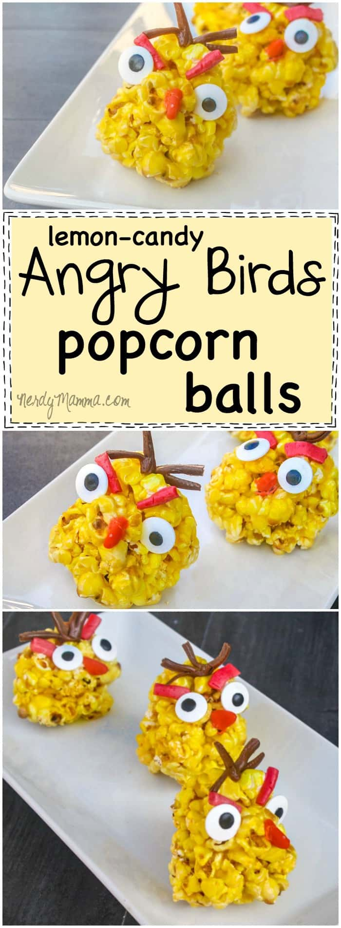 Oh, my yum! This recipe for lemon candy-flavored popcorn balls! Sounds so yummy. And that they're shaped like Angry Birds! Cutest. Snack. Ever. LOL!