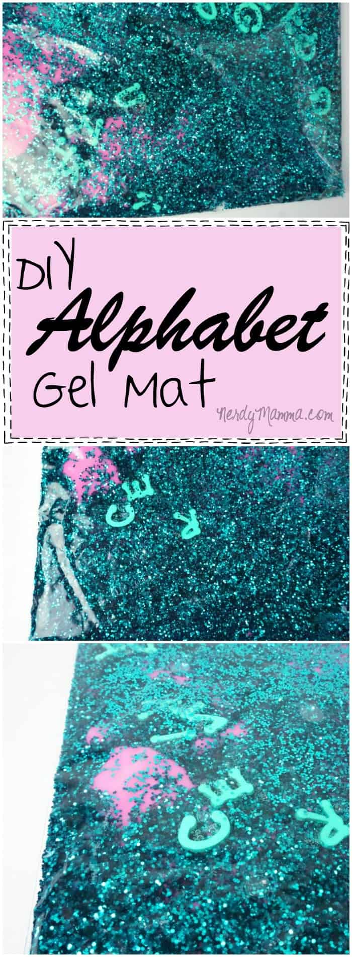 The crazy colors of this alphabet gel mat are so cool! I can't wait to make this for my preschooler. She'll love the glitter and the letters! LOL!