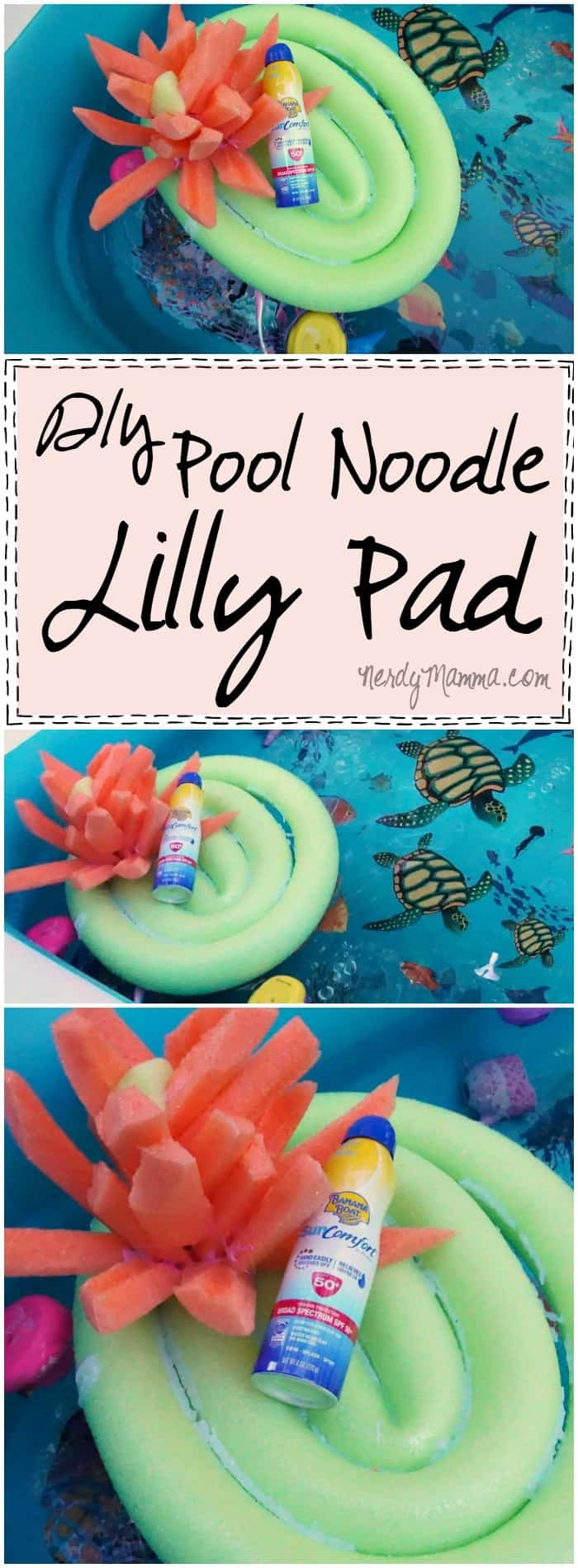 This is such a cute idea for a pool floatie table made from one of those pool noodles! It's so cute--a Water Lilly Pad! How adorable!