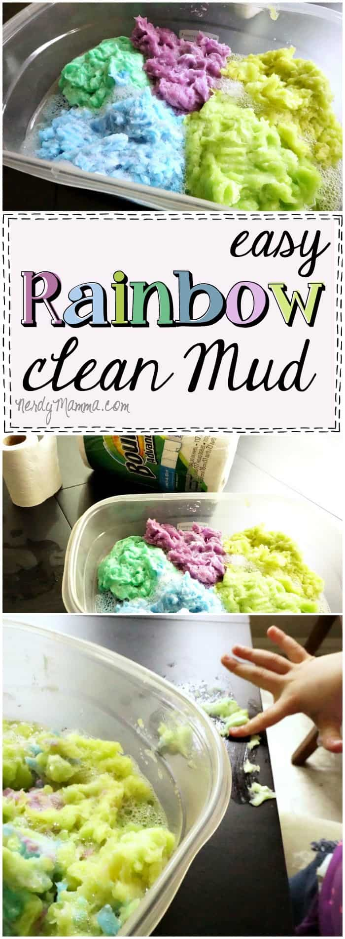 This recipe for clean mud is so awesome! I can't wait until we have a rainy day and I can make this for the kids...I'm totally saving this pin!