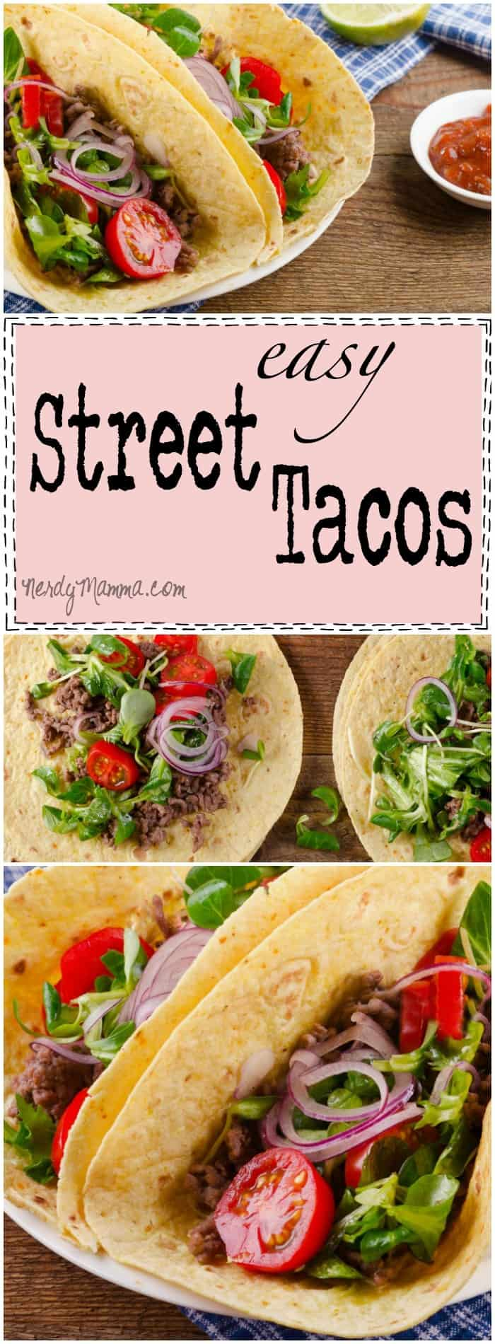 This recipe for easy street tacos! SO EASY. And mouthwatering. I love the idea of food truck tacos at home...