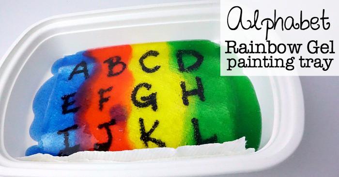 alphabet rainbow gel painting tray fb