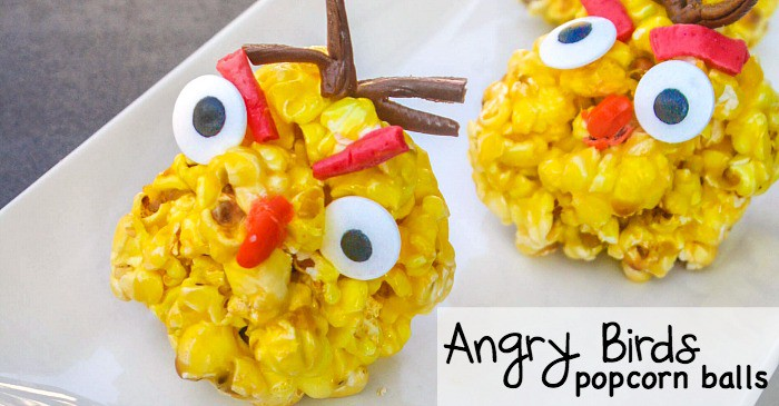 angry birds popcorn balls made with skittles fb