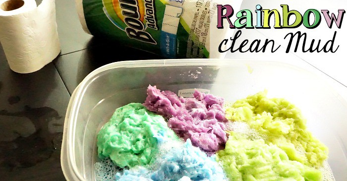 easy rainbow clean mud for sensory play fb