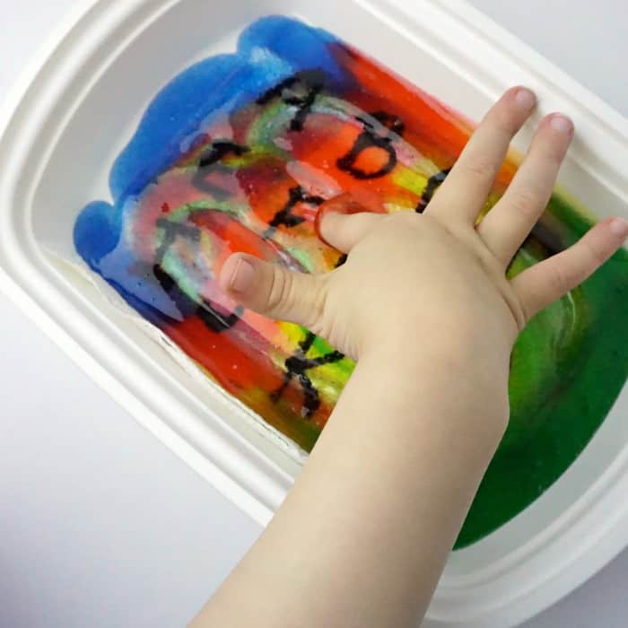 how to make a sensory tray with abc's sq