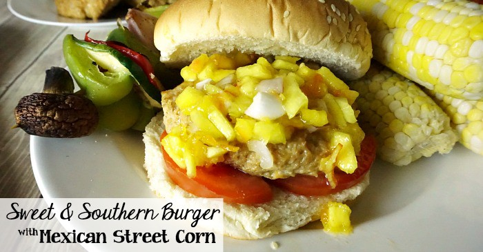 sweet & southern burger with mexican street corn fb