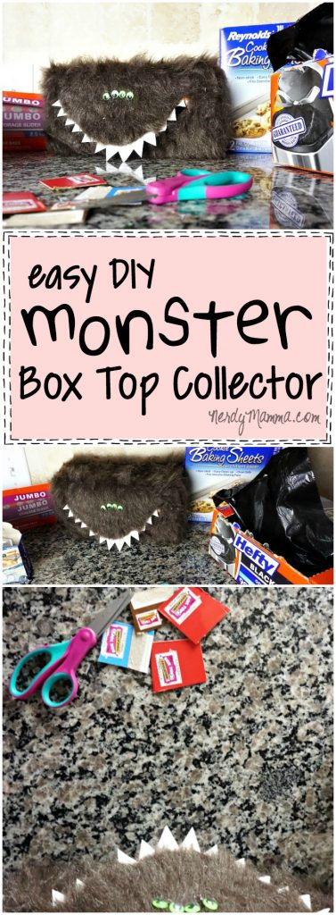 My gosh! This is so creative. What a great way to motivate kids to collect box tops for education. Love this monster box top collector.