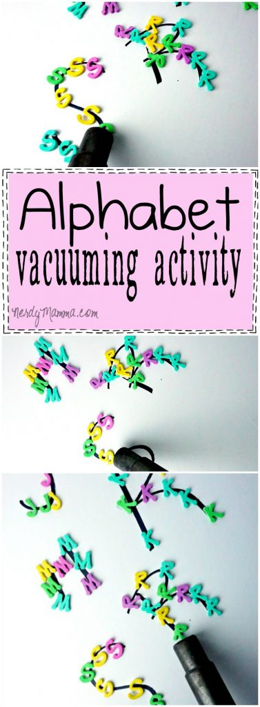 This alphabet vacuuming activity is so easy! and gets the kids doing something fun, too. Love!