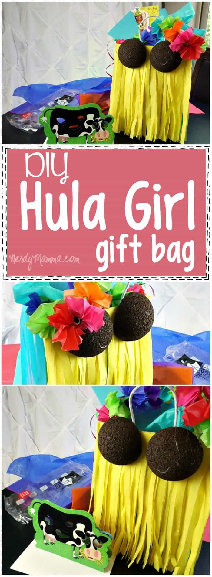 Diy hula girl gift bag nerdy mamma