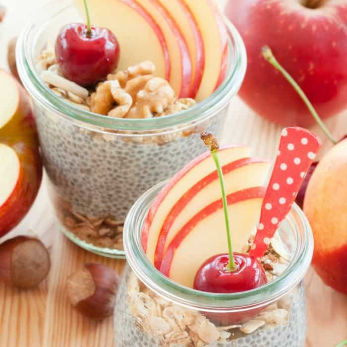 easy breakfast chia pudding recipe with apples and nuts sq