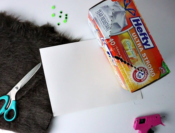 ingredients for making a monster out of a box for kids to play with