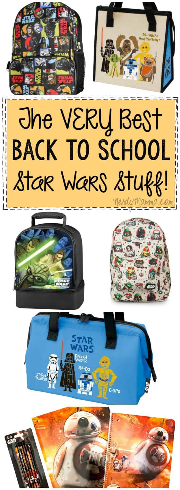You cannot head back to school without this totally awesome Star Wars stuff! Backpacks to pens to totally adorable lunch totes, everything you need for back to school is here!!