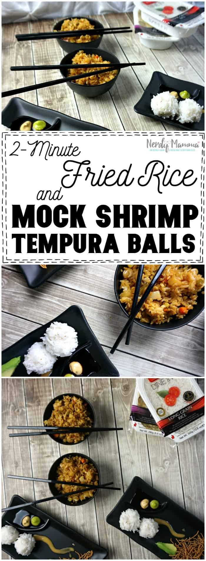 I LOVE this recipe for 2-minute fried rice and these mock shrimp tempura balls. So easy and fast! What's not to love! LOL!