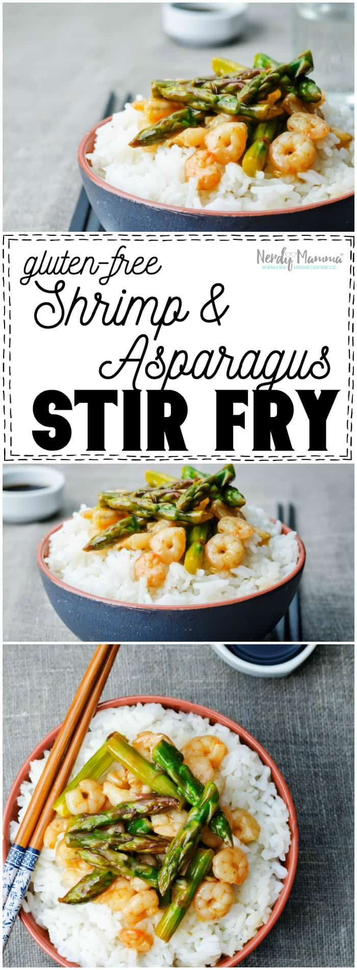 I absolutely LOVE this recipe for gluten-free shrimp stir fry with asparagus. So yummy! I have to pin it.