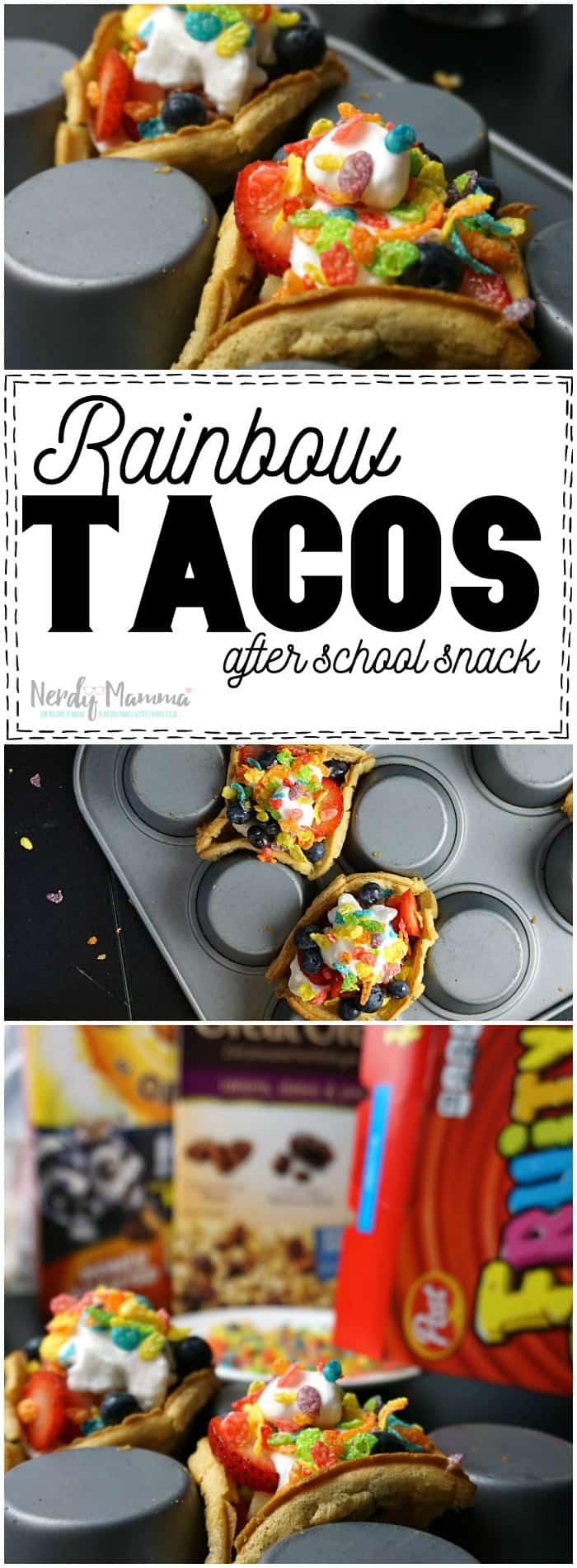 Easy rainbow tacos after school snack gf v nerdy mamma for Easy after school snacks for kids to make