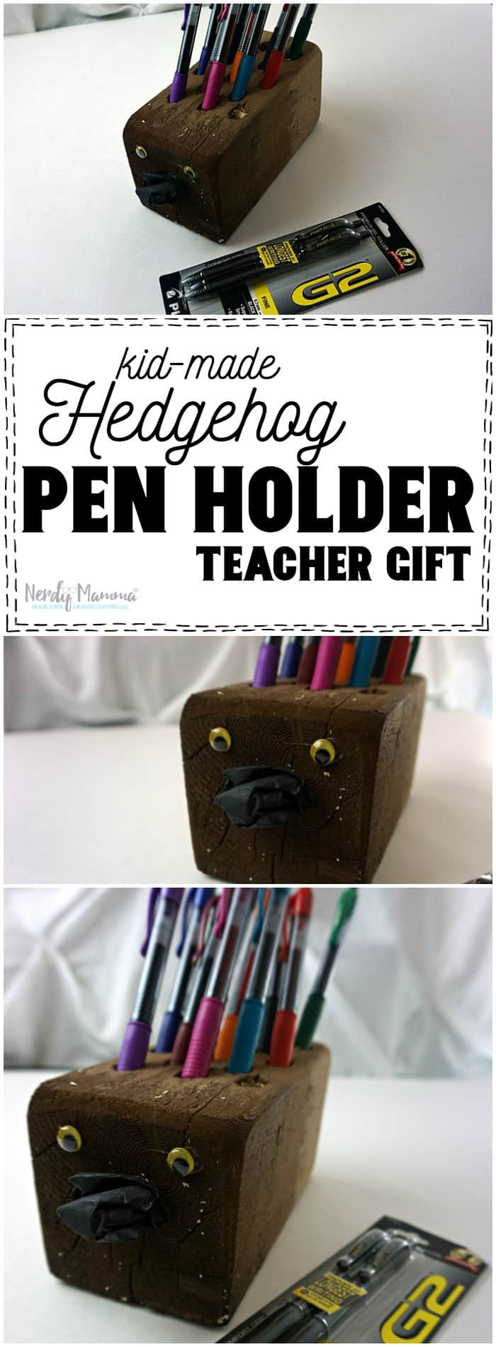 I love this kid-made pen holder for a teacher gift--it's so cute! And easy, too!