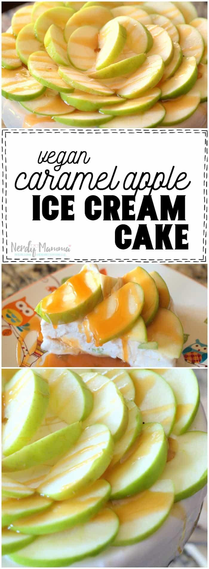 OMG! I am IN LOVE with this Vegan and Gluten-Free Caramel Apple Ice Cream Cake recipe. I can't wait to make it now.