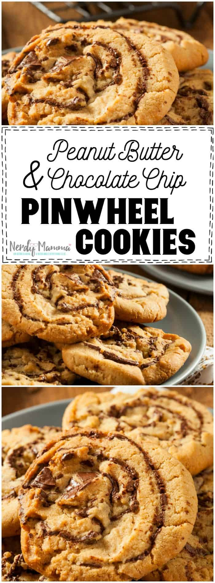 OMG. This recipe for Peanut Butter & Chocolate Chip Pinwheel Cookies! I'm in LOVE.