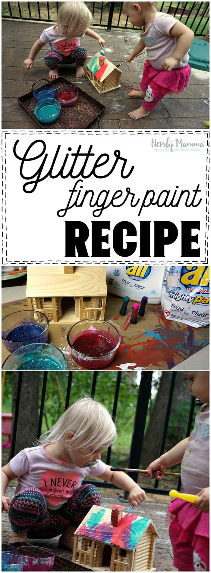 Oh, I love how simple this glitter finger paint recipe is! So beautiful!
