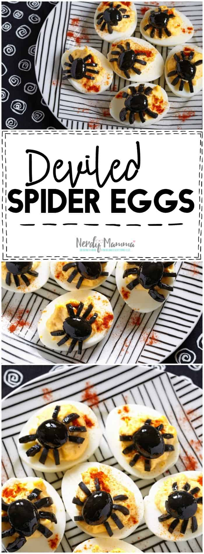 Oh my! What an easy Halloween Party appetizer! I love this simple deviled spider eggs recipe!
