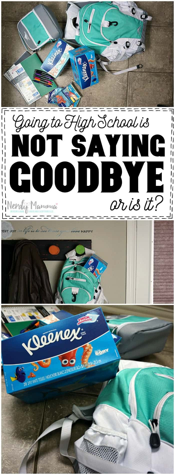 Oh, this mom is so right...Going to High School is NOT saying goodbye, but, in some ways, it is. Love this.