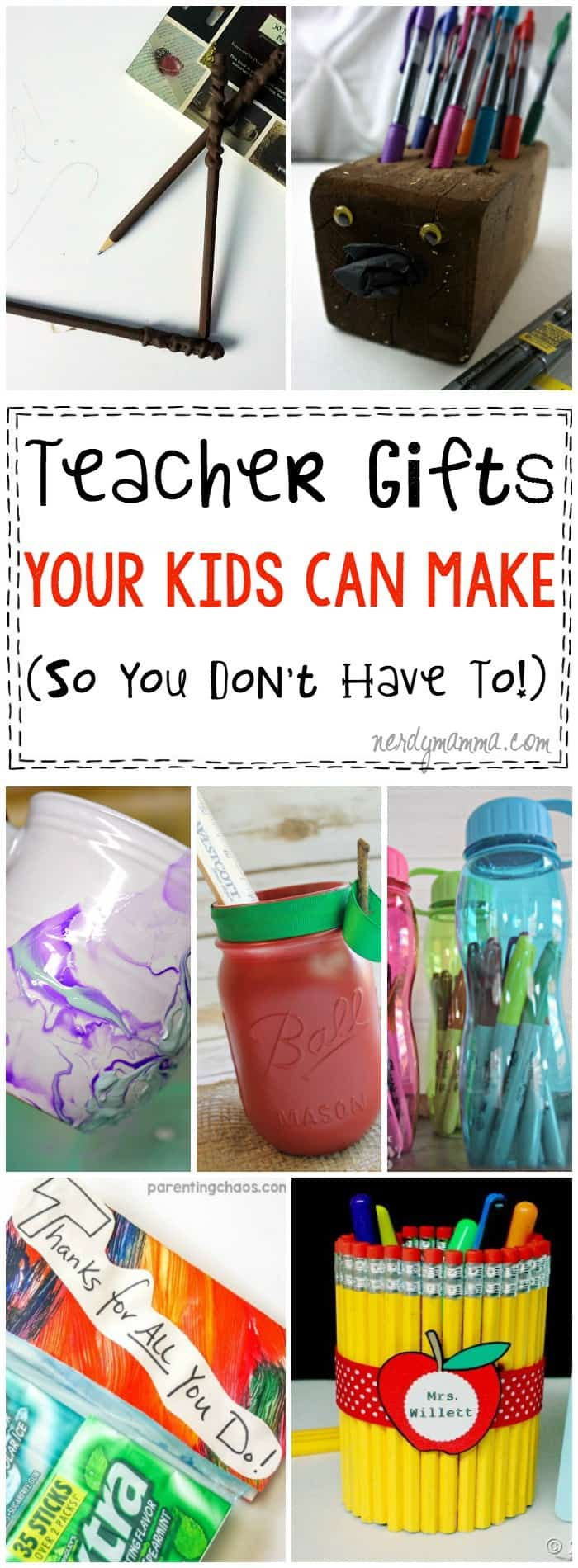 OMG! This post saved my life! It's full of teacher appreciation gifts that kids can make so that I don't have to! Who has time for that anyways!?