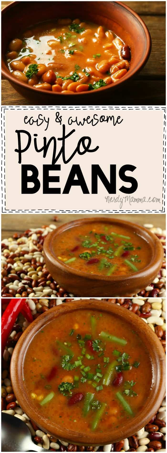 These Easy and Awesome Pinto Beans...They are SO AWESOME. I mean--I love beans...but this recipe...makes them non-gassy...and have bacon. Mmmm...